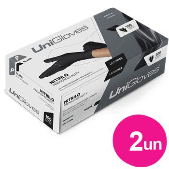Kit 2x caixas de luva de nitrilo black premium descartável sem pó unigloves - 100un TAM P - 100-P