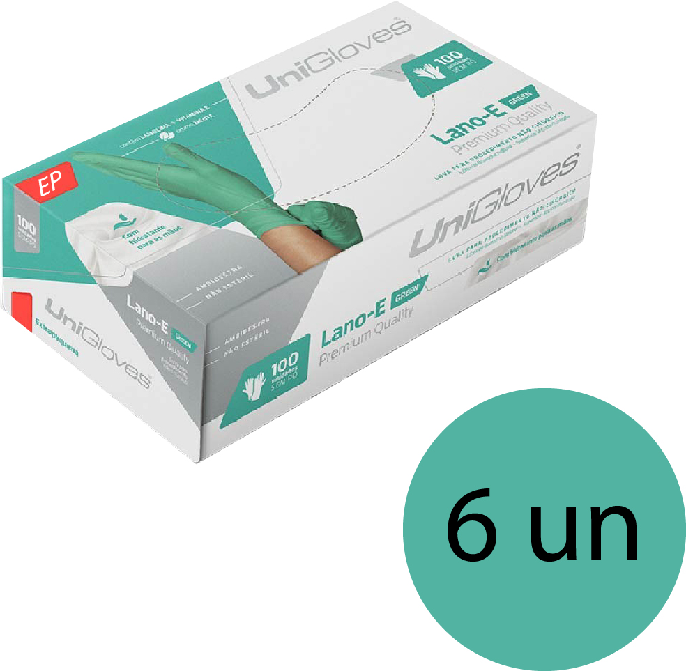 Kit 6 caixas de luva de látex descartável clássico green com pó unigloves - 100un TAM EP (Extra Pequeno)
