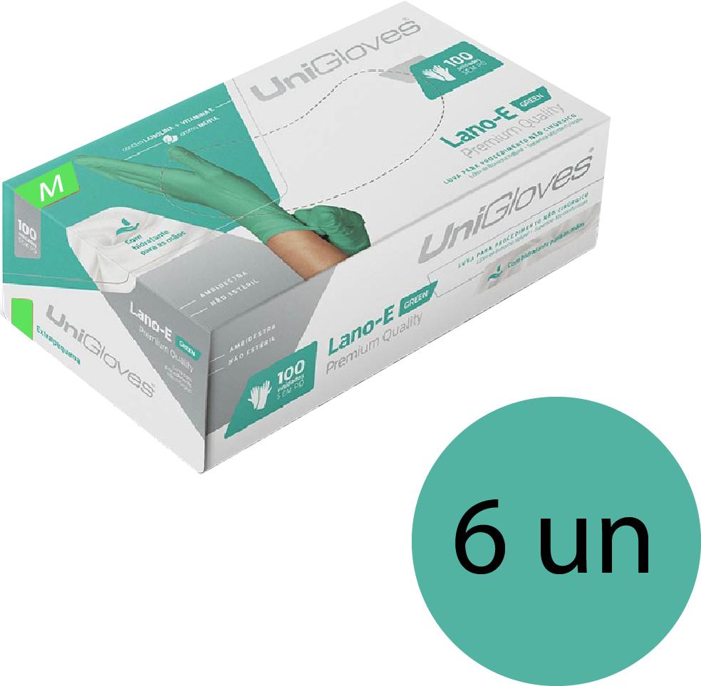 Kit 6 caixas de luva de látex descartável clássico green com pó unigloves - 100un TAM M (Médio)