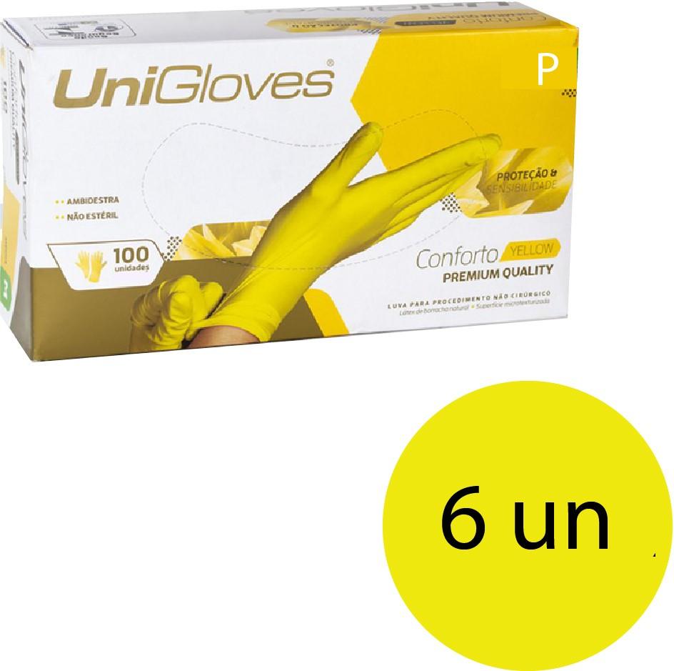 Kit 6 caixas de luva de látex descartável clássico yellow com pó unigloves - 100un TAM P (Pequeno)