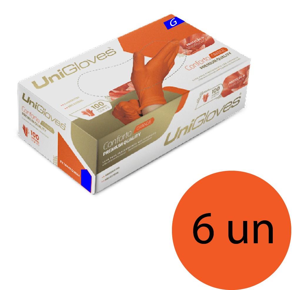 Kit 6 caixas de luva de látex natural conforto orange descartável sem pó unigloves - 100un TAM G (Grande)