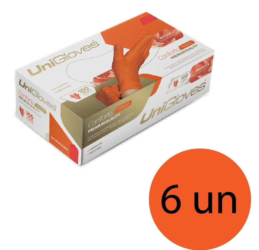 Kit 6 caixas de luva de látex natural conforto orange descartável sem pó unigloves - 100un TAM P (Pequeno)