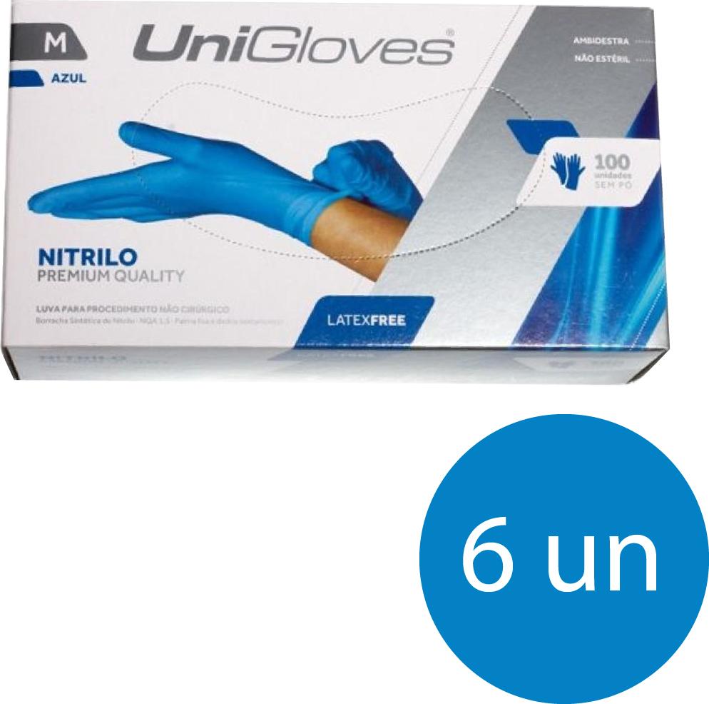 Kit 6 caixas de luva de nitrilo descartável clássico blue com pó unigloves - 100un TAM M (Médio)