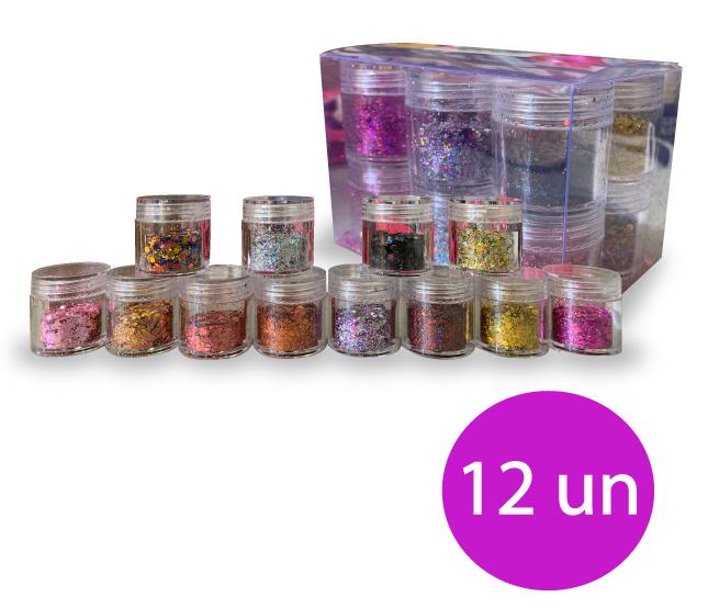 Kit glitter 12 unidades variadas (potinhos)