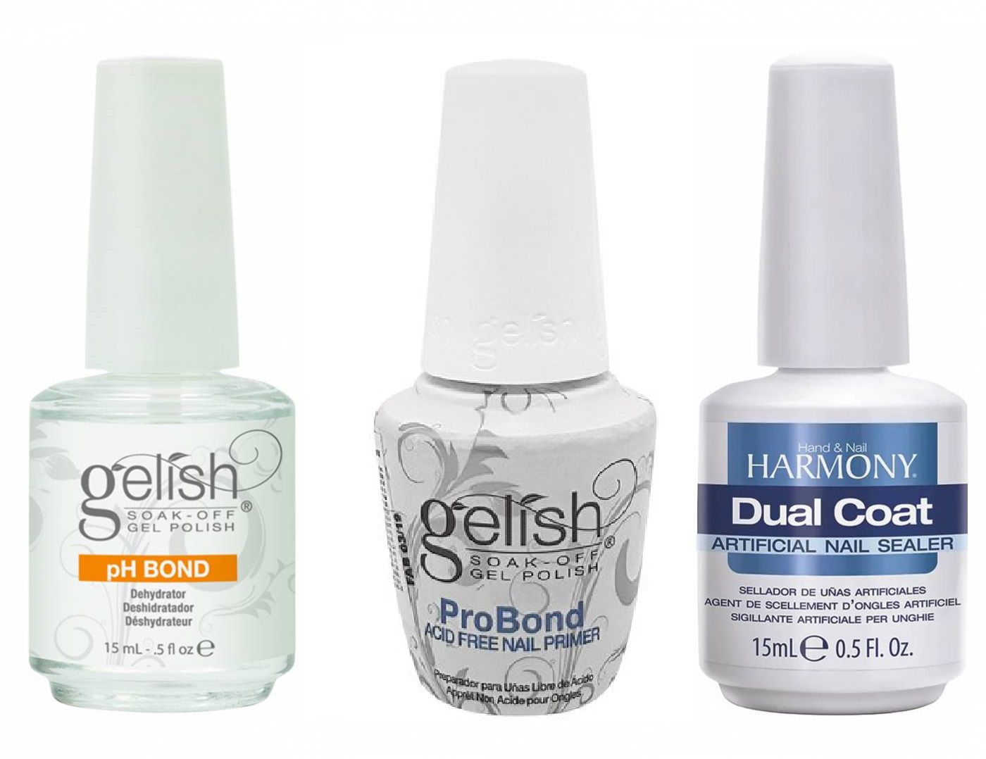 Kit Harmony -  Gelish PH Bond (Desidratador) + Gelish Pro Bond Sem Ácido (Preparador) +  Dual Coat (Selante)