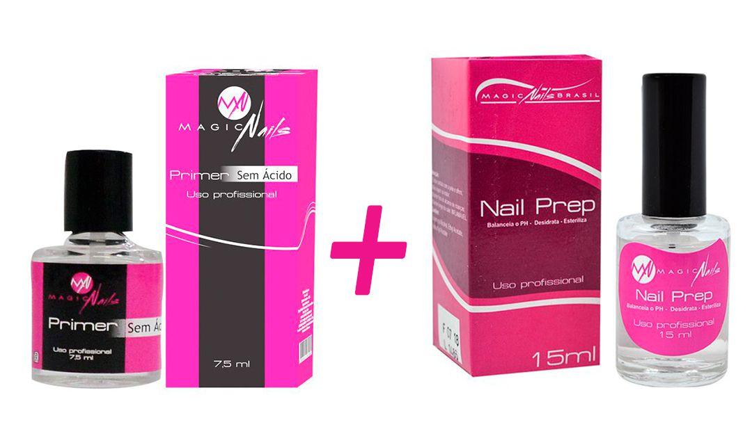 Kit Magic Nails Primer Sem Ácido 7,5ml e Nail Prep Desidratador 15ml
