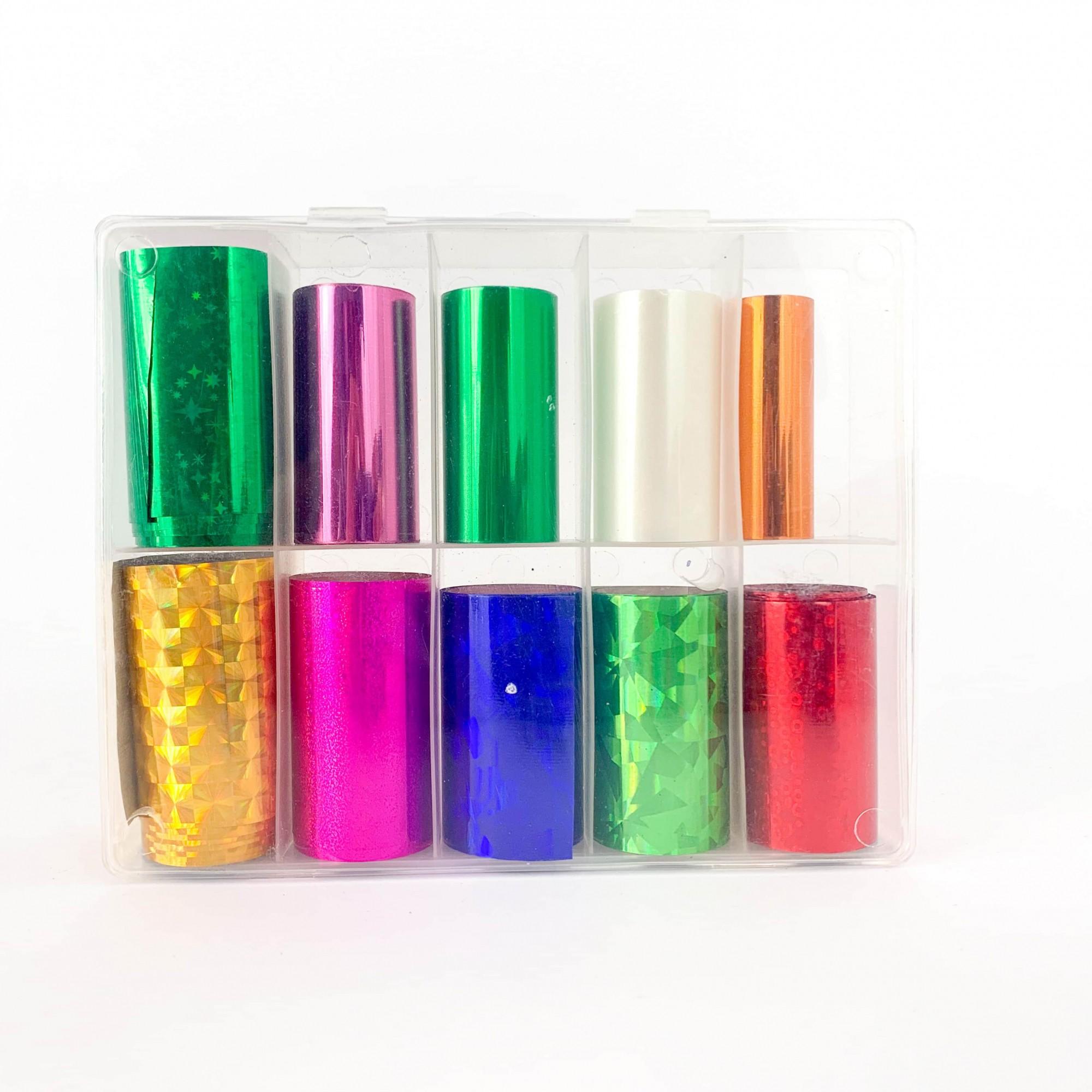 Kit pote com 10 foils para decoração de unhas #f1