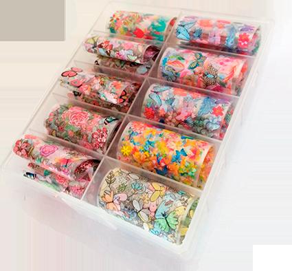 Kit pote com 10 foils para decoração de unhas #f5