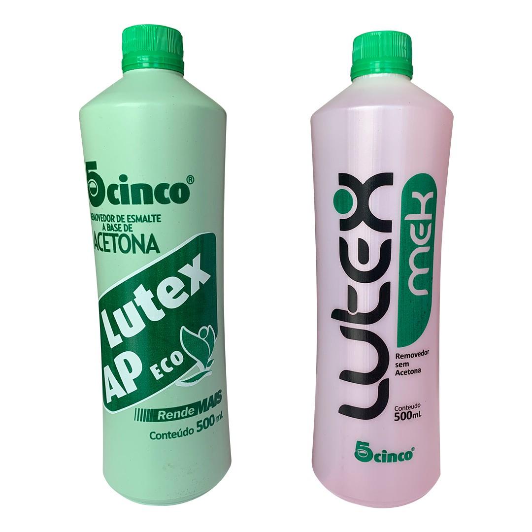 Kit removedor de esmalte Lutex 5Cinco 500ml - Mek (sem acetona) +  AP eco (com acetona)