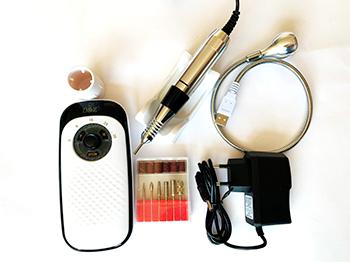 Lixadeira de unhas elétrica micro motor portátil bivolt profissional 35000rpm com bateria recarregável e mini luminária + Kit brocas com 6 brocas e 6 lixas para micromotor e lixadeira