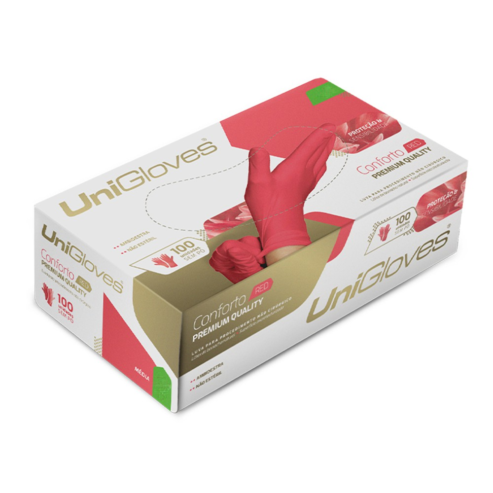 Luva de latex natural conforto red descartável sem pó unigloves - 100un tam g - 60-g