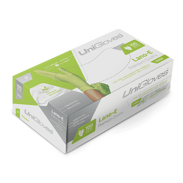 Luva de latex natural lano-e green descartável sem pó unigloves - 100un tam ep - 90-ep
