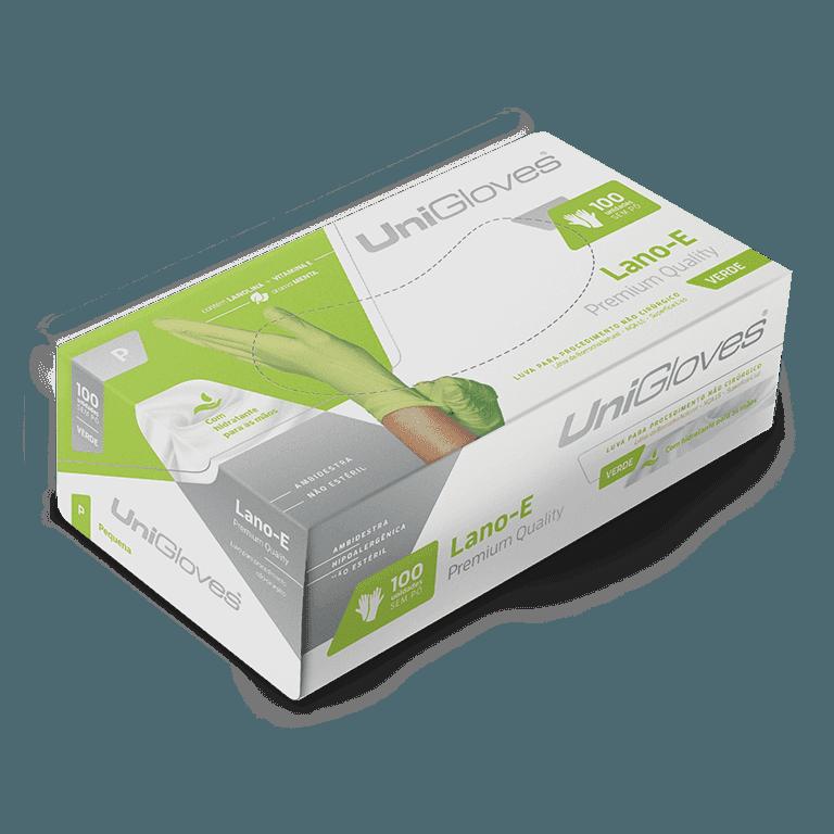 Luva de latex natural lano-e green descartável sem pó unigloves - 100un tam p - 90-p