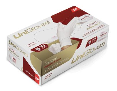 Luva procedimento de látex de borracha conforto premium descartável sem pó unigloves - 100un tam P (Pequeno)
