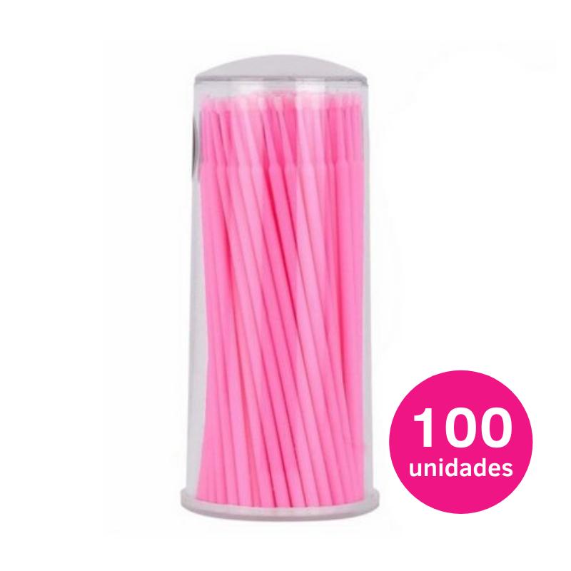 Micro bastão (microbrush) 2,5mm rosa aplicador para cílios e sobrancelhas 100un