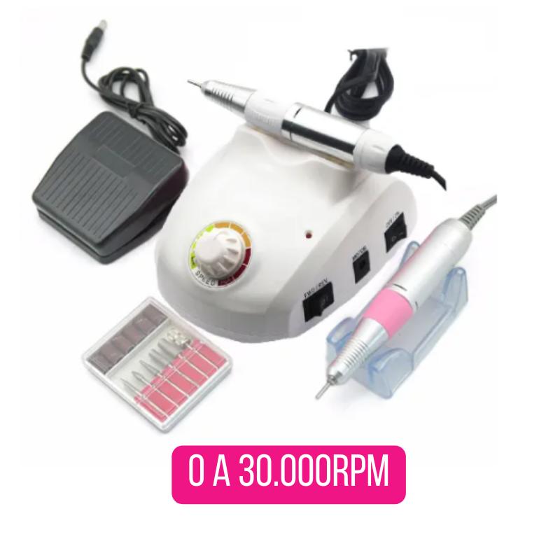 Micro motor lixadeira elétrica para unhas com pedal telefone bivolt 30.000 RPM + kit brocas com 6 brocas e 6 lixas