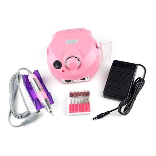 Micro motor lixadeira elétrica para unhas com pedal porquinho ROSA bivolt 30.000 RPM + kit brocas com 6 brocas e 6 lixas