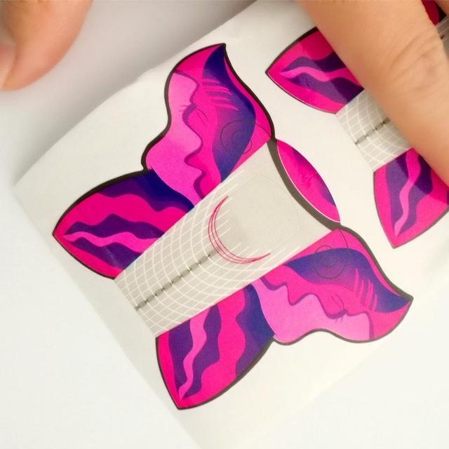 Molde adesivo de papel borboleta para aplicação de unhas postiças - 300un