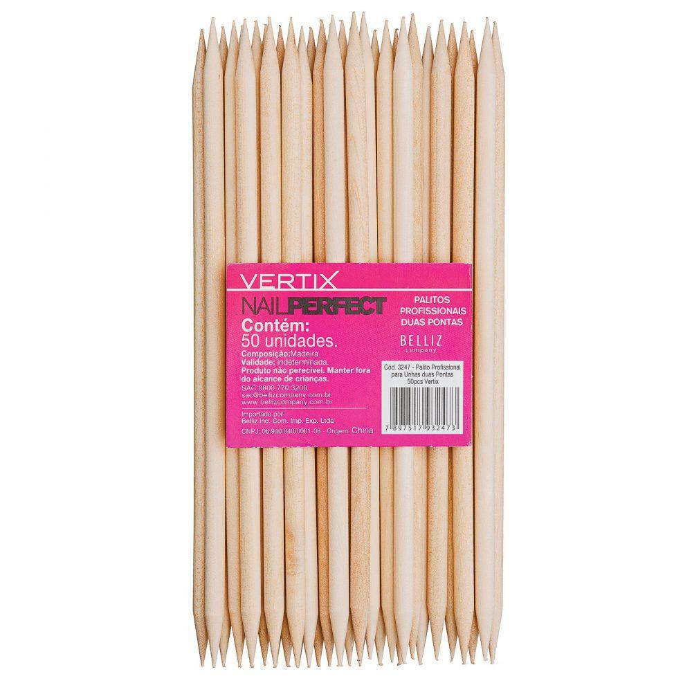 Palito para unhas madeira duas pontas 50pcs 3247 - vertix