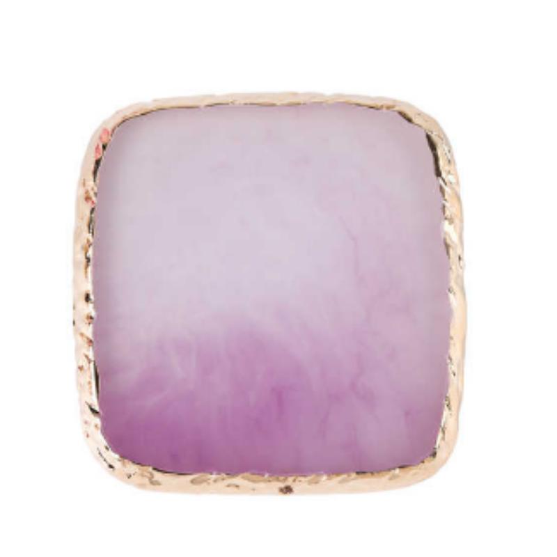 Pedra para foto quadrada roxa (quadradinho com base dourada para fotos)
