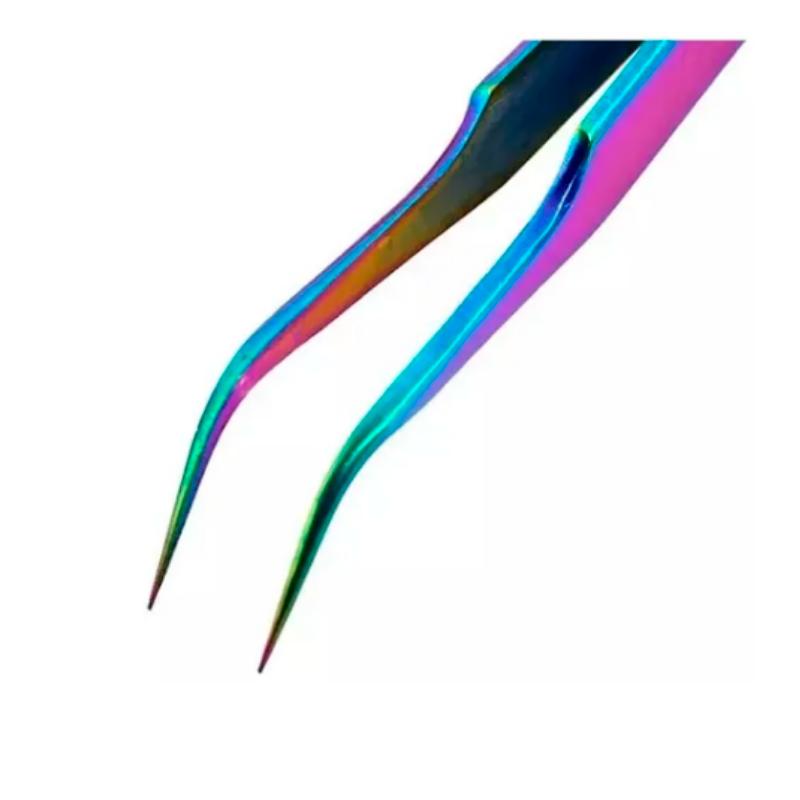 Pinça Fan Nails CURVA para alongamento de cílios Inox