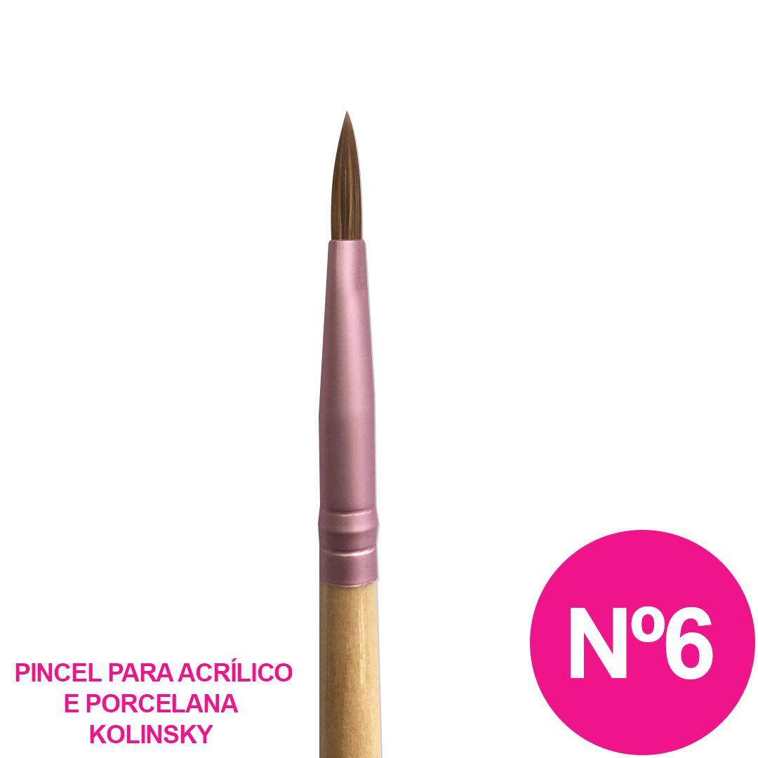 Pincel nº 6 - alongamento de unha acrílica e porcelana cc668l
