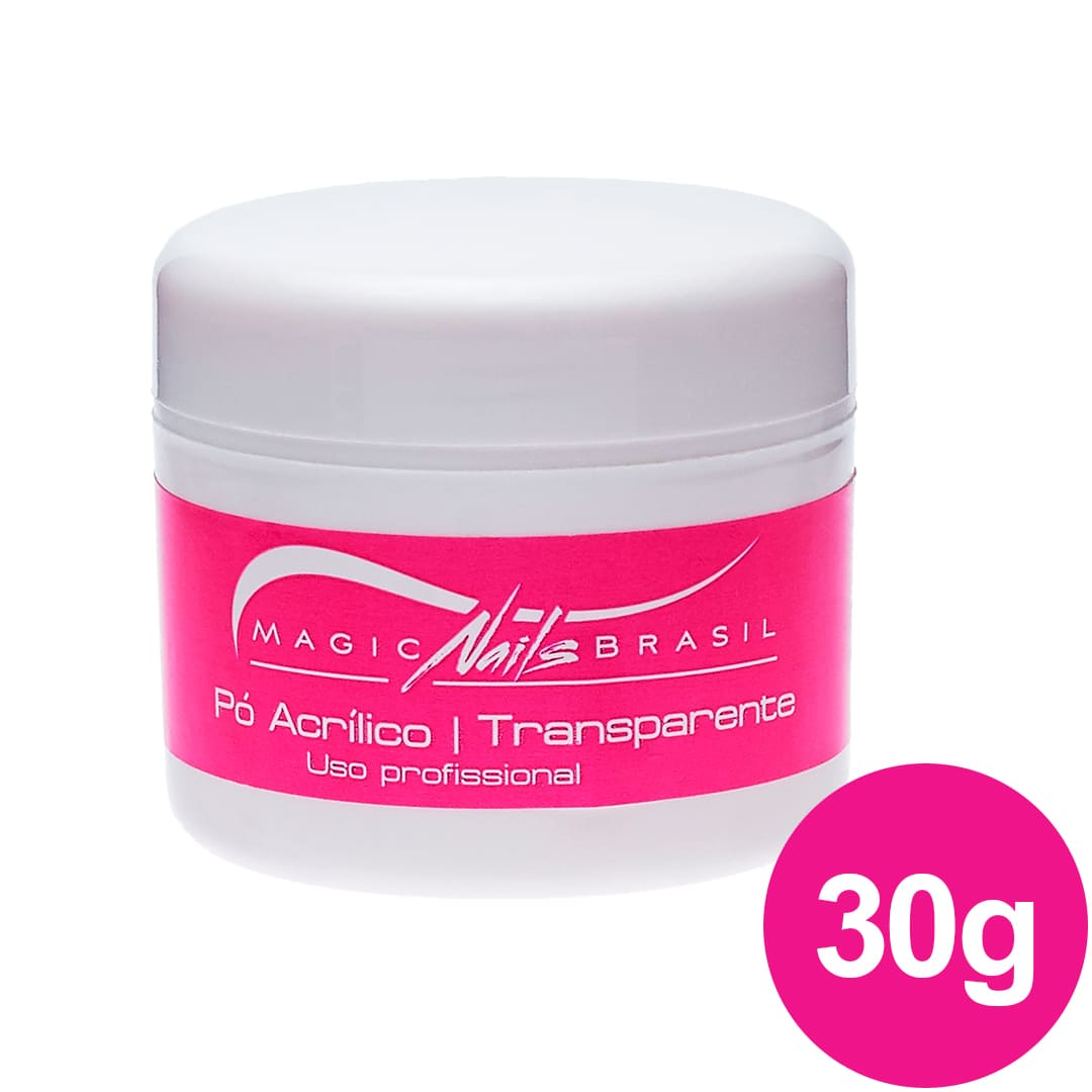 Pó Acrílico MAGIC NAILS para ACRIGEL e PORCELANA 30g Transparente