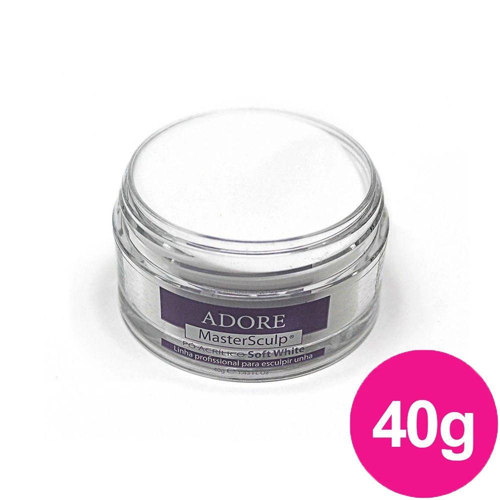 Pó Acrílico Master Sculp - Soft White Adore - 1 pote de 40g