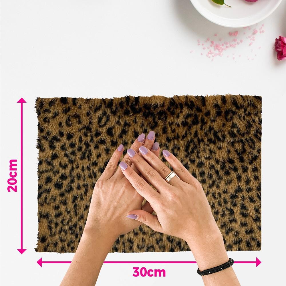 Tapete pelúcia pelo baixo estampado para manicure - fundo de foto - onça