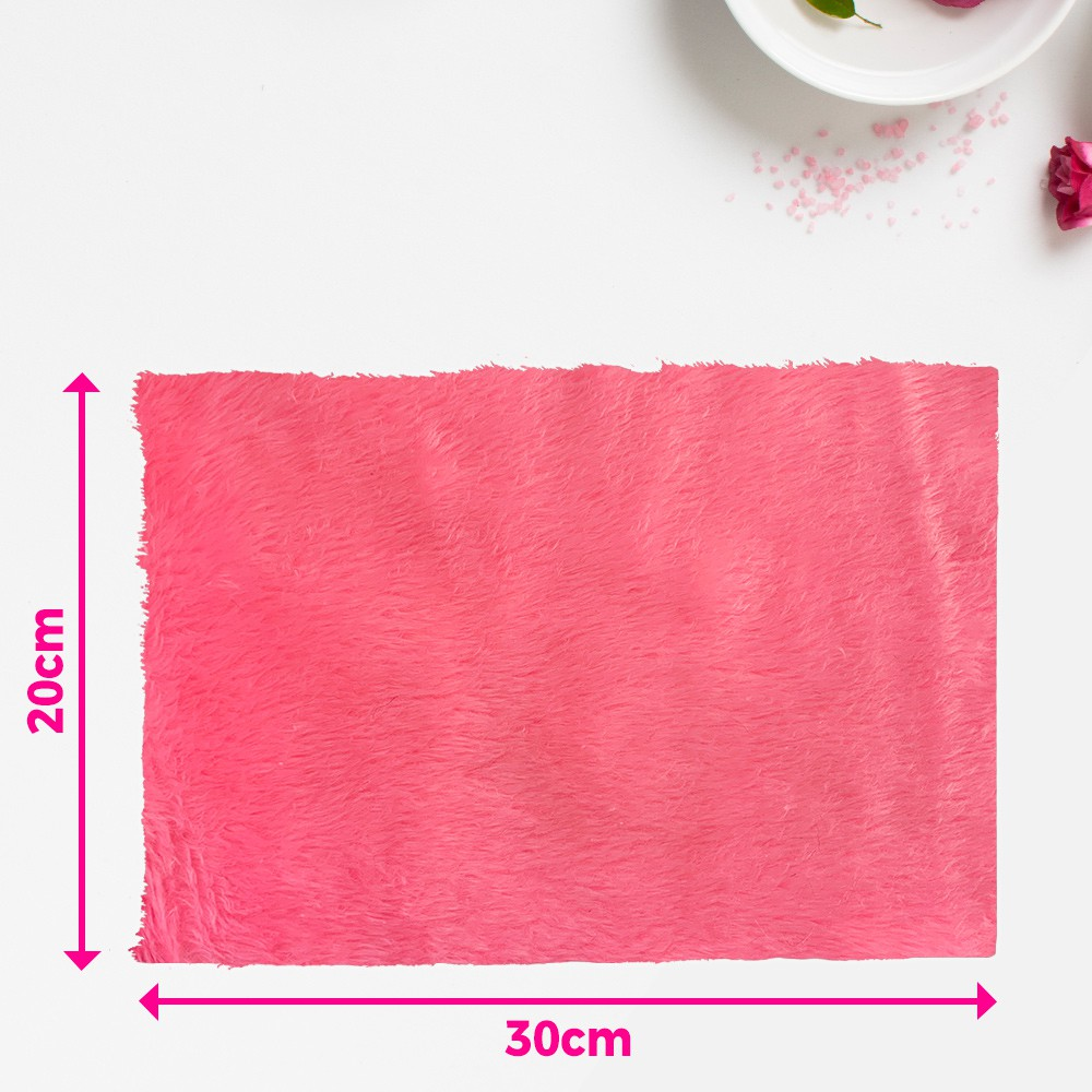 Tapete pelúcia pelo baixo liso para manicure - fundo de foto - pink