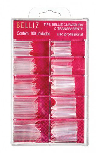 TIPS DE UNHAS BELLIZ CURVATURA C Transparente - Caixa com 100 un - 1298