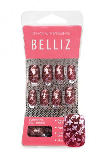 Unhas Autocolantes Belliz - Flowers Médio 1283