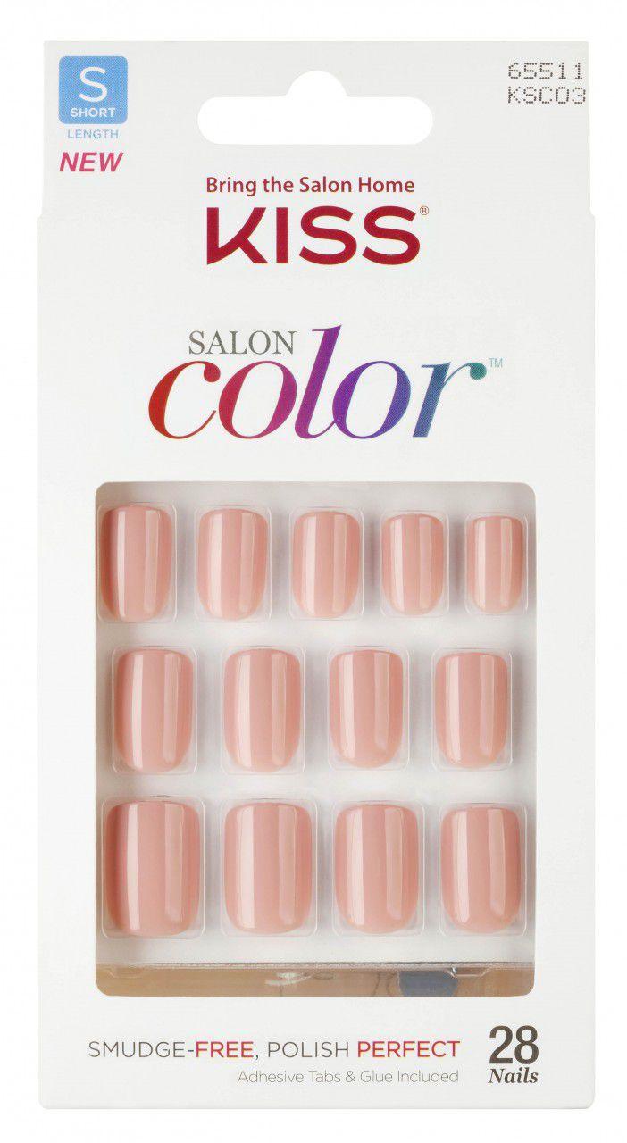 Unhas postiças KISS NY Salon Color - Curta KSC03