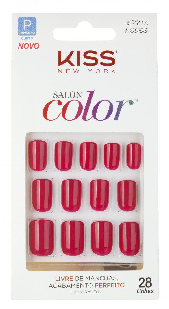 Unhas postiças KISS NY Salon Color - Curta KSC53