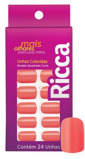 Unhas postiças Quadradas Curtas Coral Candy - Ricca 1334