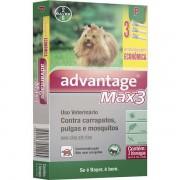 Antipulgas e Carrapatos Advantage Max3  para Cães até 4kg (0,4ml) com 3 tubos - Bayer (Validade 11/2020)