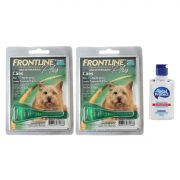 Kit 2 Unidades Antipulgas e Carrapatos Frontline Plus para Cães até 10kg + Brinde Álcool Gel 120ml Total Protect