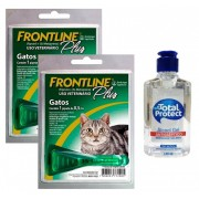Kit 2 Unidades Antipulgas e Carrapatos Frontline Plus para Gatos - Merial + Brinde Álcool Gel 120ml Total Protect
