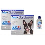 Kit 2 Unidades Antipulgas e Carrapatos Nexgard 28,3mg para Cães de 4,1 a 10kg (3 tabletes) - Merial + Brinde Álcool Gel 120ml Total Protect