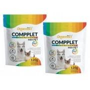 Kit 2 Unidades Suplemento Vitamínico para Cães e Gatos Compplet Mix A-Z Tabs 120g - Organnact