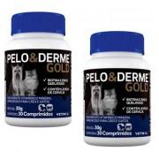 Kit 2 Unidades Suplemento Vitaminico Pelo & Derme Gold (30g/30 comprimidos) - Vetnil