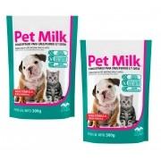Kit 2 Unidades Suplemento Vitamínico Substituto do Leite Materno para Filhotes Pet Milk 300g - Vetnil