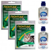 Kit 3 Unidades Antipulgas e Carrapatos Frontline Plus para Gatos - Boehringer Ingelheim + Brinde 2 Álcool Gel 120ml Total Protect