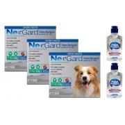 Kit 3 Unidades Antipulgas e Carrapatos Nexgard 68mg para Cães entre 10,1 e 25kg (3 tabletes) - Merial + Brinde 2 Álcool Gel 120ml Total Protect