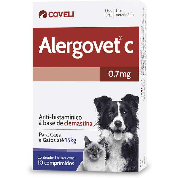 Anti alérgico para Cães e Gatos até 15kg Alergovet C 0,7mg (10 comprimidos) - Coveli