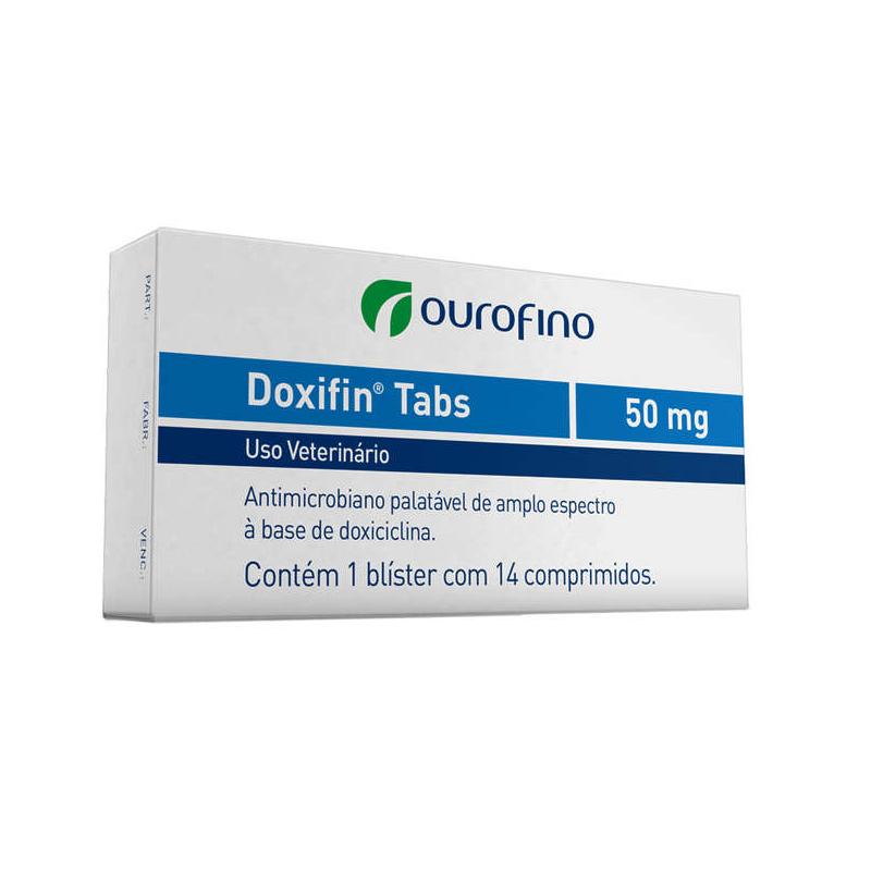 Antibiótico palatável para Cães e Gatos Doxifin Tabs 50mg (14 comprimidos) - Ourofino