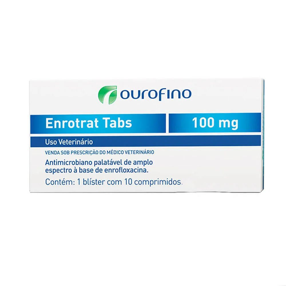 Antibiótico Palatável para Cães e Gatos Enrotrat Tabs 100mg (10 comprimidos) - Ourofino