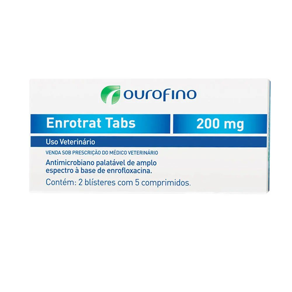 Antibiótico Palatável para Cães e Gatos Enrotrat Tabs 200mg (10 comprimidos) - Ourofino