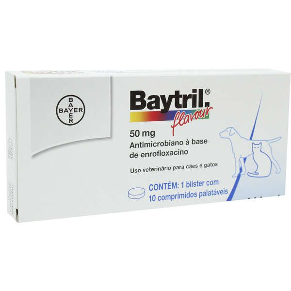Antibiótico para Cães e Gatos Baytril Flavour 50mg (10 comprimidos) - Bayer