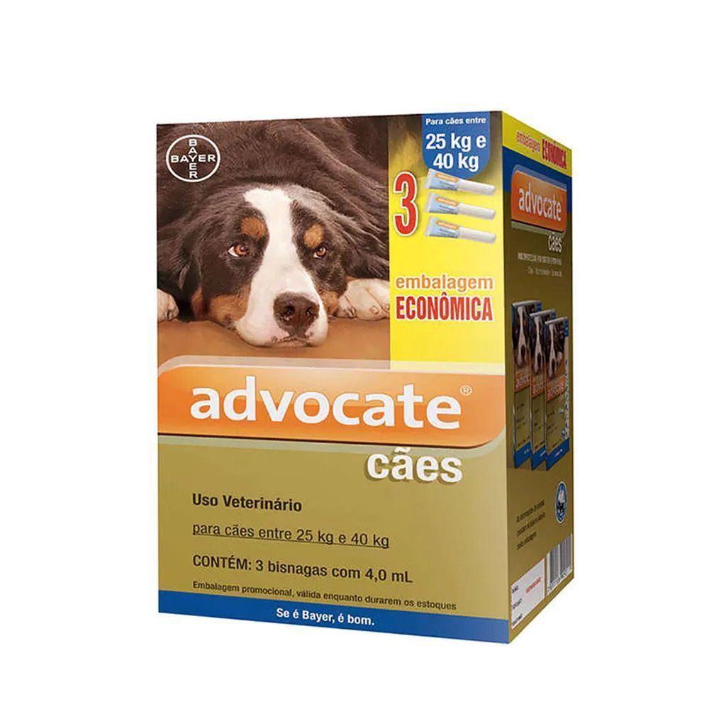 Antipulgas Advocate para Cães acima de 25kg (4,0ml) com 3 tubos - Bayer